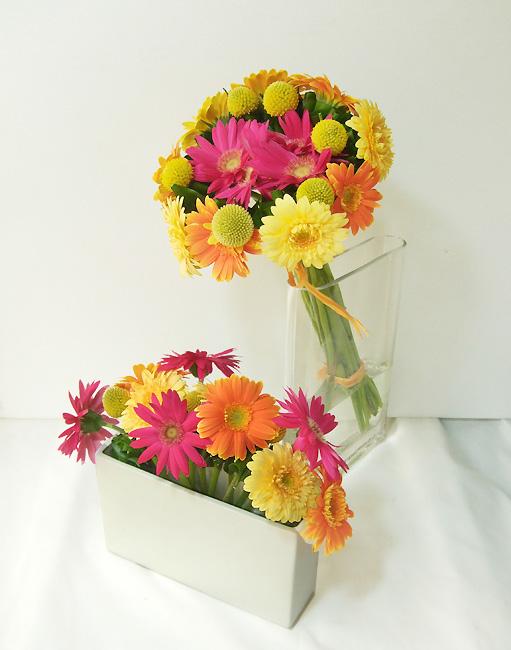 ガーベラのピエロ風花束, うきうき花レシピ